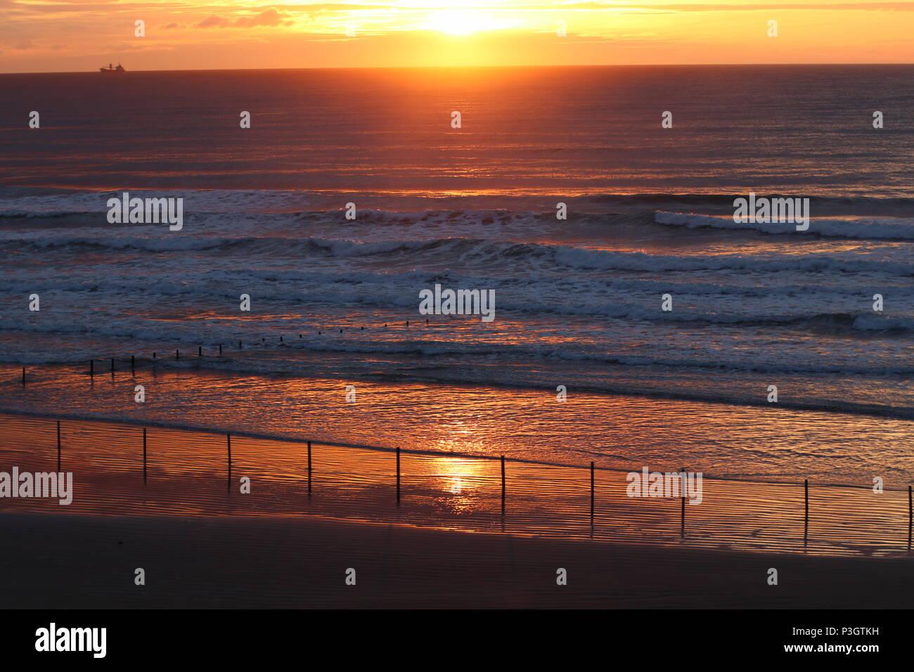 Sunset Portstewart Strand Stock Photo