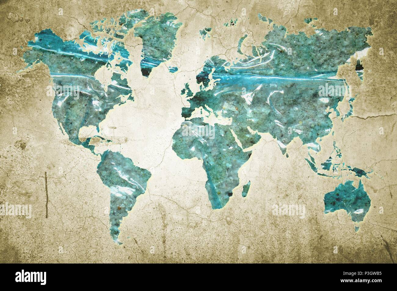 Simple Flat Map Of World With Countries Stock Photos & Simple Flat on