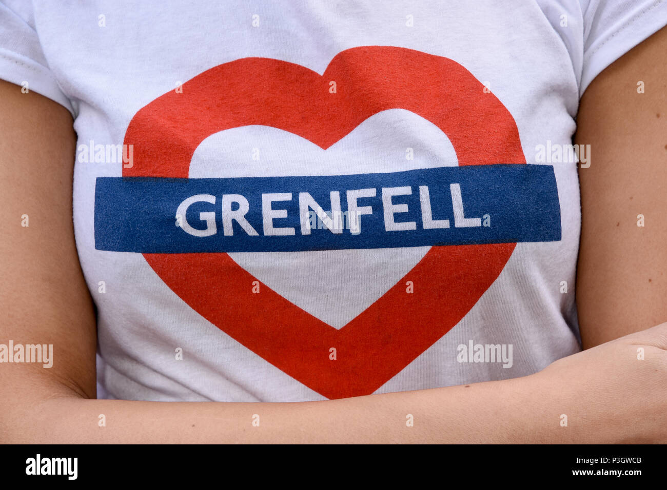 Justice for Grenfell - Solidarity March to show support for relatives and friends of those affected by the Grenfell Tower Block Fire,London.UK - Stock Image