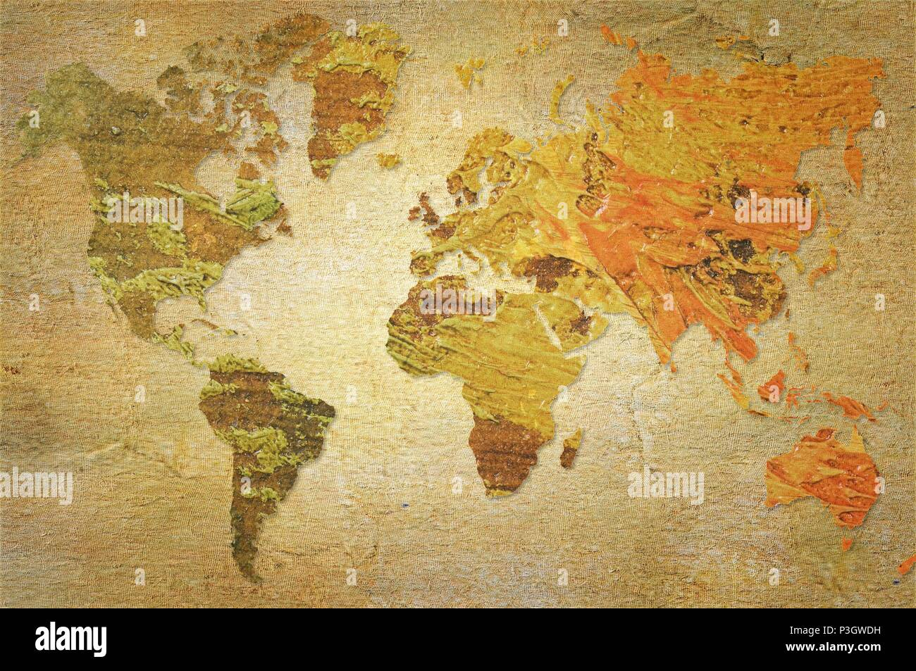 World map made with artistic oil colors on fabric background world map made with artistic oil colors on fabric background elements of this image furnished by nasa gumiabroncs Images