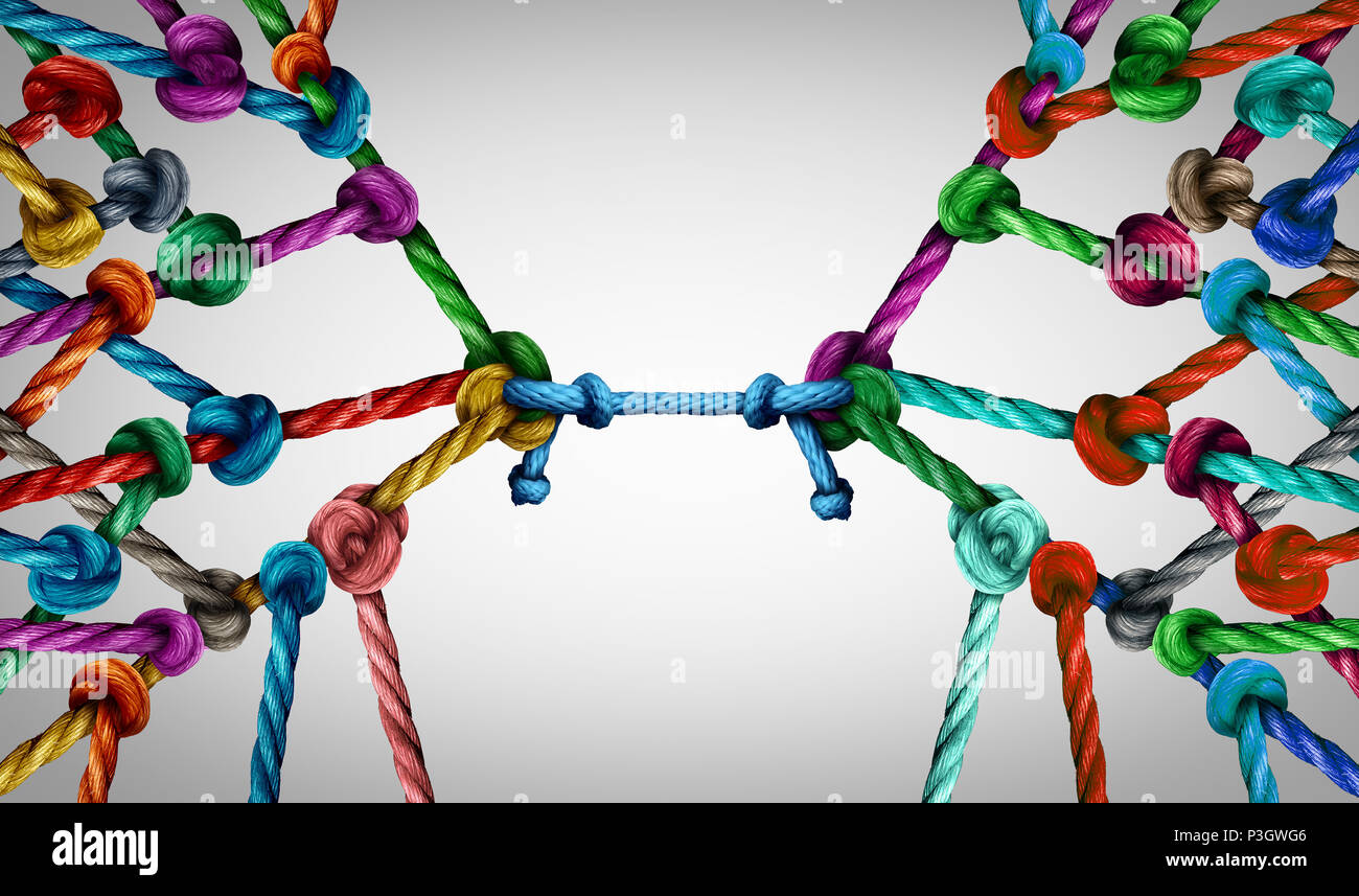 Connecting teams and connected group concept as many different ropes tied and linked together as an unbreakable chain as business trust metaphor. - Stock Image