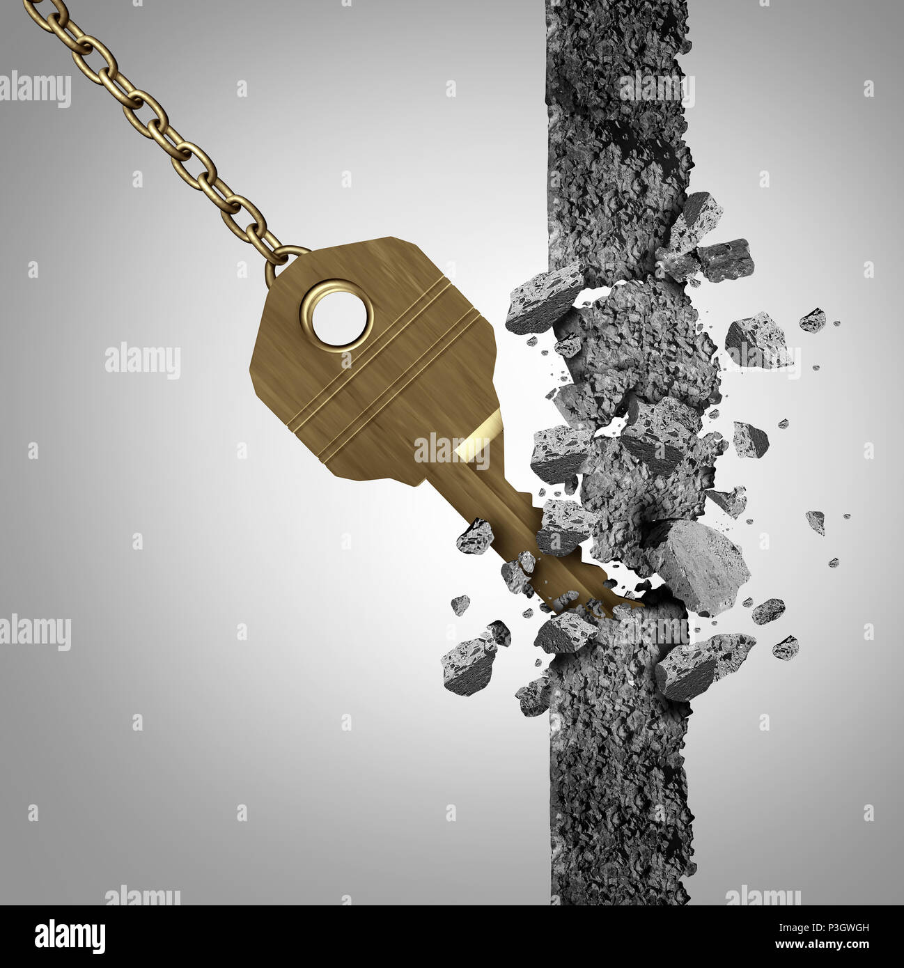 Key discovery business breakthrough success concept as an opening tool breaking an obstacle with 3D illustration elements. - Stock Image