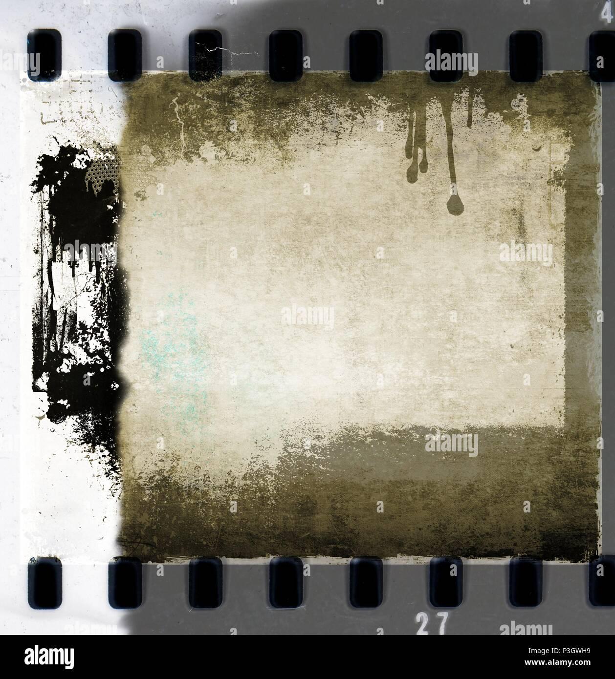 Retro film strip frames in sepia tones with copy space. - Stock Image