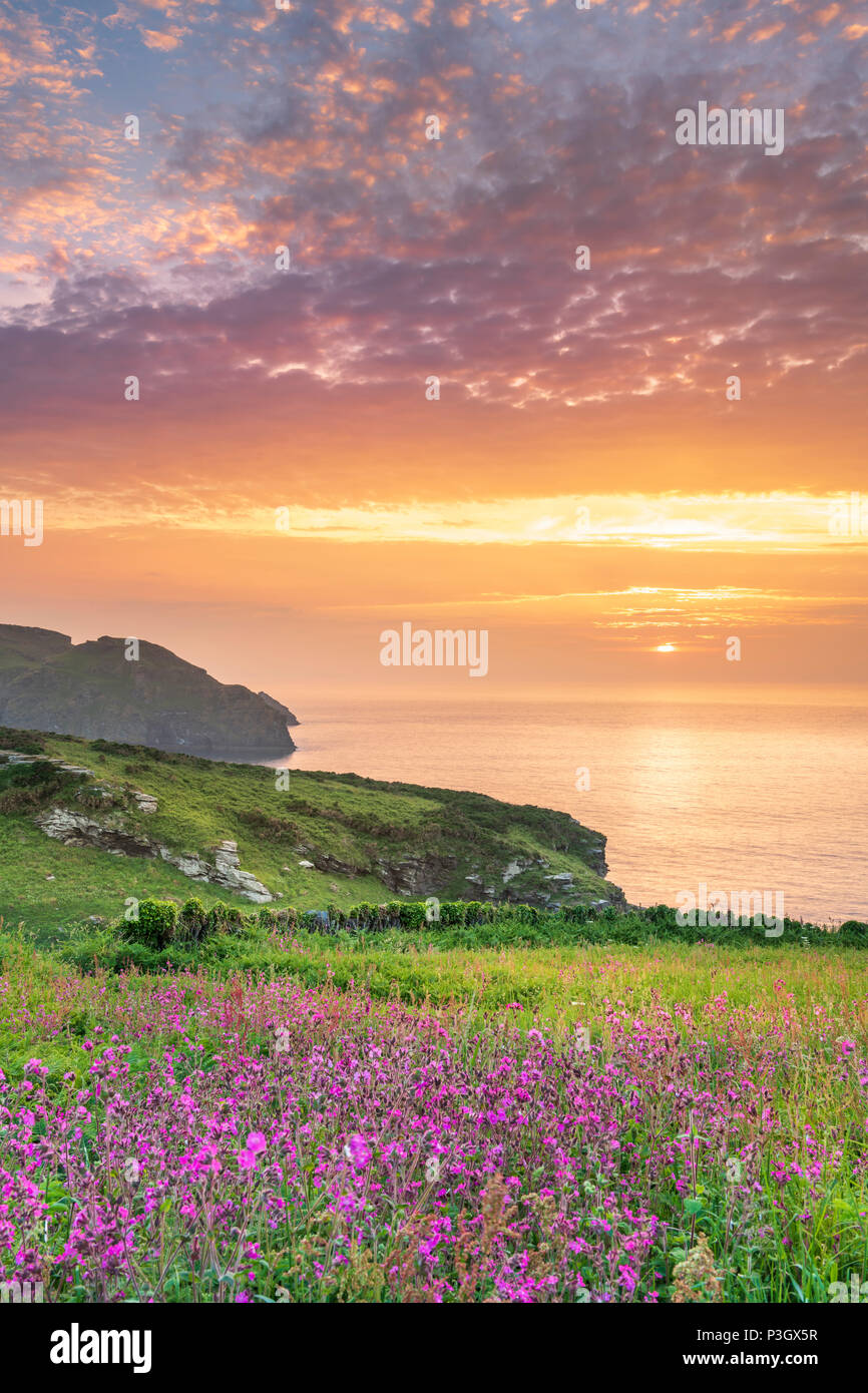 After a warm and sultry day, cloud cover builds as the sun sets over the headland at Bossiney Cove in Cornwall, with the forecast set for a cooler spe Stock Photo