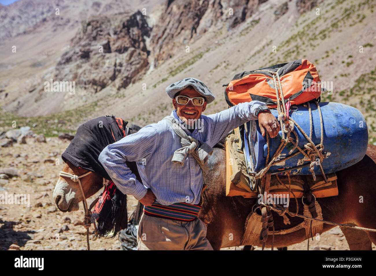 Argentina cowboys supervising mule train of supplies along trail to base camp on Aconcagua, Mendoza, Argentina - Stock Image