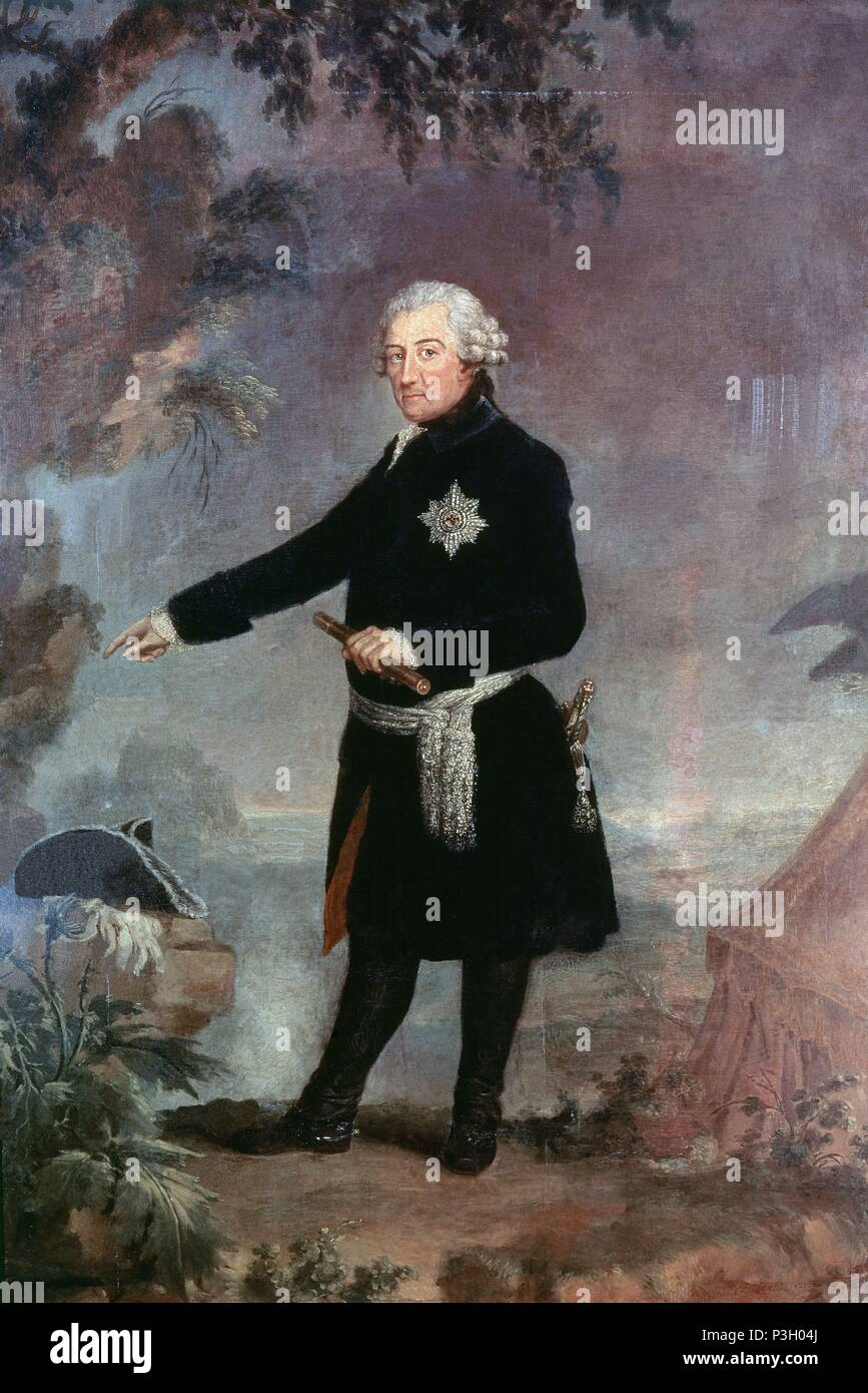 Portrait of Frederick II the Great - 1772 - 258x176 cm - oil on canvas. Author: Anna Dorothea Therbusch (1721-1782). Location: MUSEO PALACIO, VERSAILLES, FRANCE. Also known as: FEDERICO II EL GRANDE REY DE PRUSIA. - Stock Image