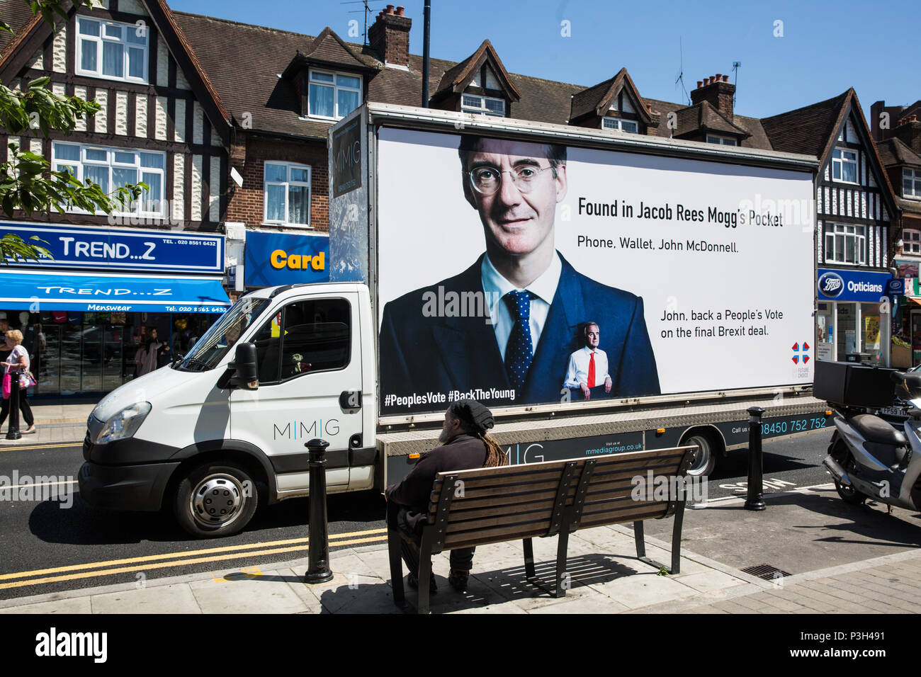 Hayes, UK. 18th June, 2018. A billboard commissioned by young persons' anti-Brexit campaign group Our Future Our Choice (OFOC) showing Shadow Chancellor John McDonnell in the pocket of prominent pro-Brexit MP Jacob Rees-Mogg tours his constituency of Hayes and Harlington as part of a campaign targeting high-profile members of the Shadow Cabinet. Credit: Mark Kerrison/Alamy Live News - Stock Image