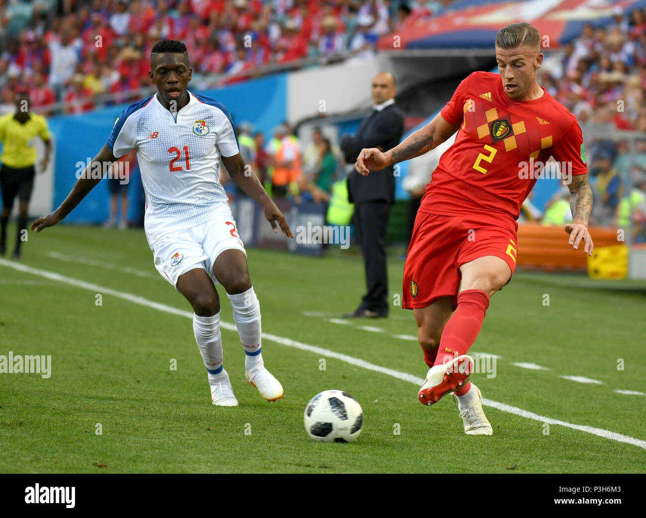 Toby Alderweireld (R) of Belgium vies with Jose Luis Rodriguez of Panama  during a group G match between Belgium and Panama at the 2018 FIFA World  Cup ... 8991a1ce3f9fd