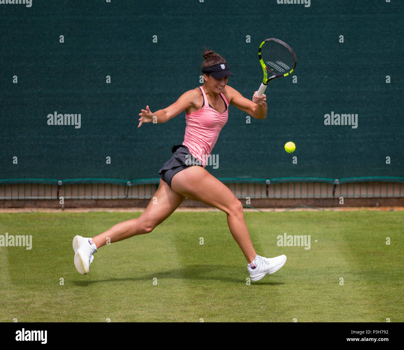 Edgbaston Priory Club, Birmingham, UK. 18th June, 2018. Nature Valley Classic Tennis; Dalila JAKUPOVIC (SLO) running backhand in her match against Bernarda PERA (USA) Credit: Action Plus Sports/Alamy Live News - Stock Image
