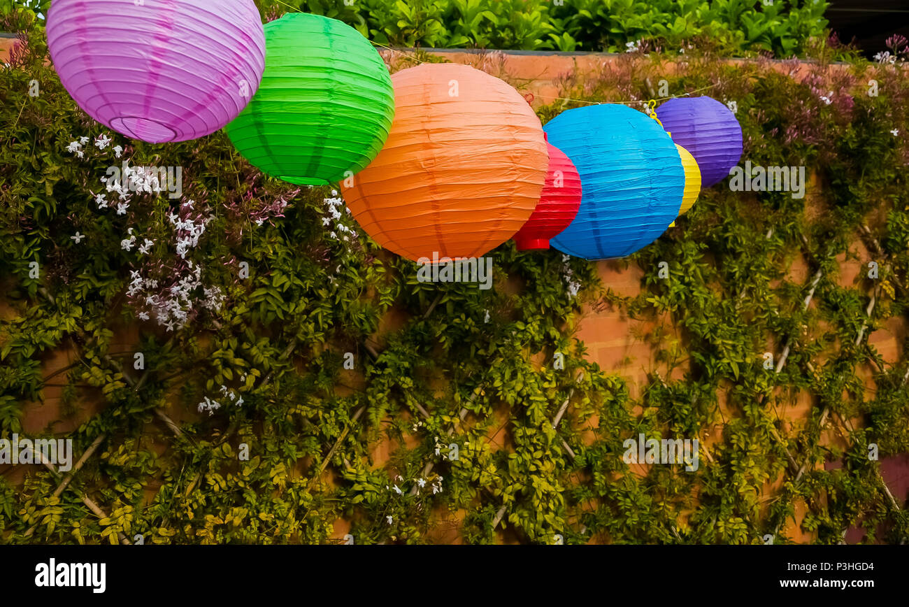 colourful chinese lanterns hanging in a garden party or outdoor
