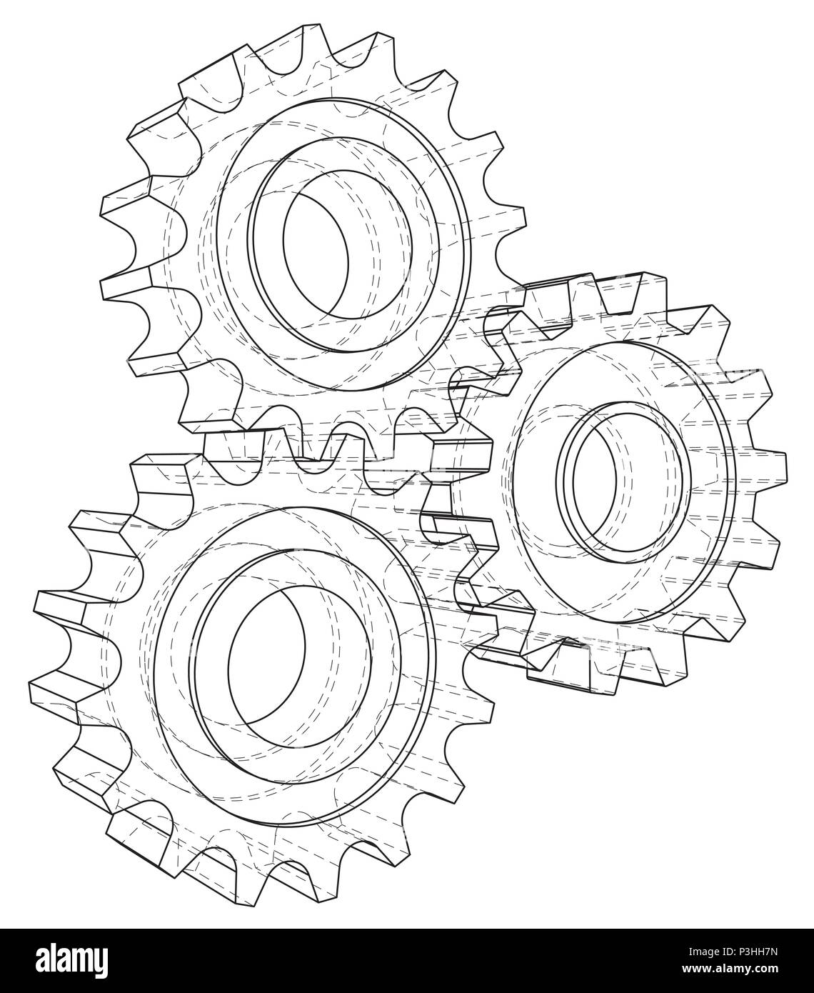Gear sketch. Vector rendering of 3d. Wire-frame style Stock Vector ...