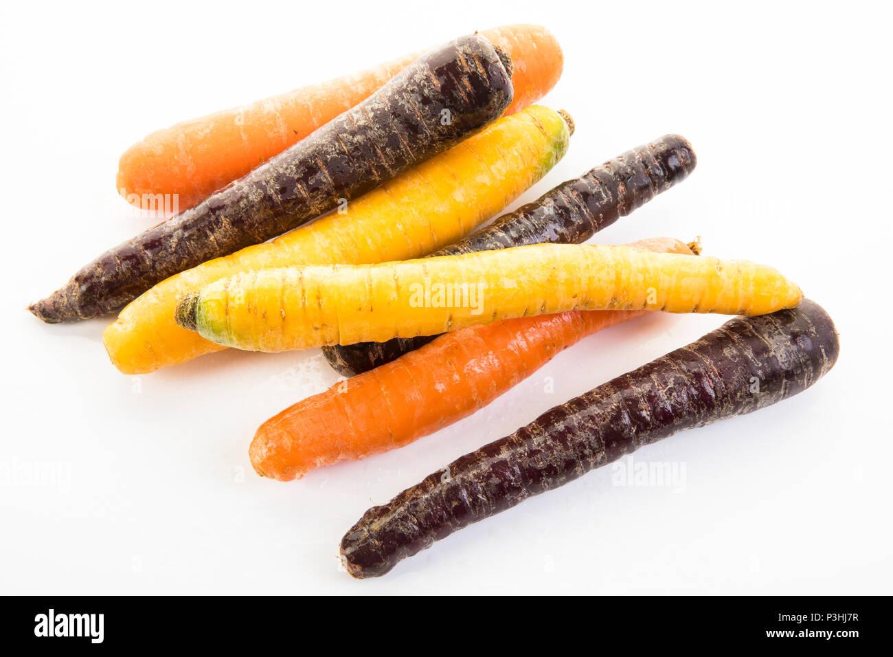 Karotten-Mix, orange, creme und violett farbene Karotten Stock Photo