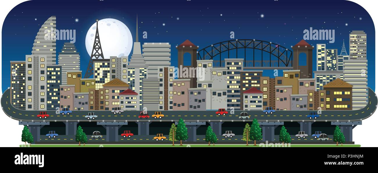 A Panoramic View of City at Night illustration - Stock Vector