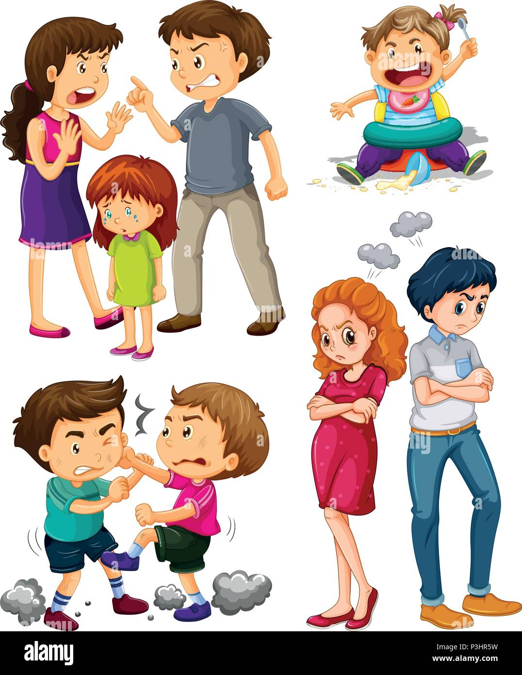 A Set Of People Fighting Illustration Stock Vector Image Art Alamy
