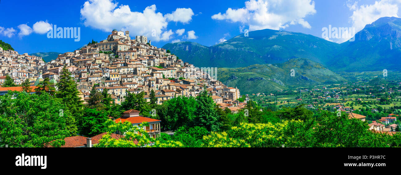 Beautiful Morano Calabro village,panoramic view,Calabria,Italy. - Stock Image