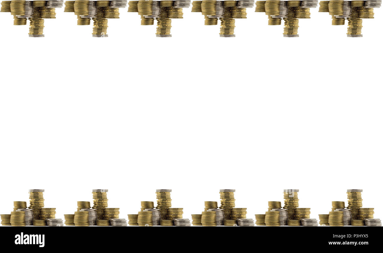 Background with stack of gold and silver coins which are at the top and bottom. Isolated on a white background. - Stock Image