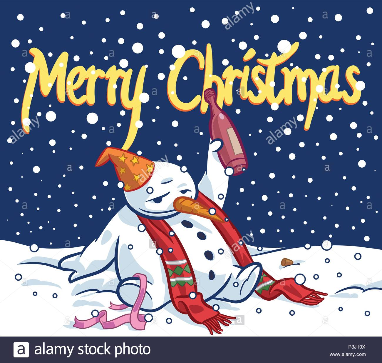 Drunk Snowman And Merry Christmas Wishes Global Colors Used Stock