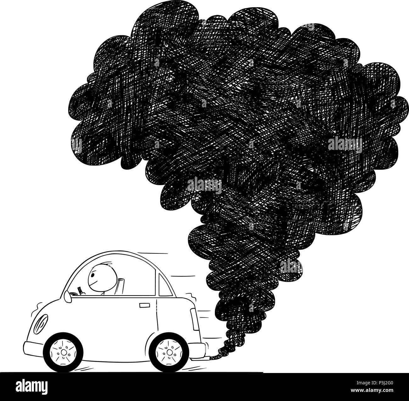 Vector artistic drawing illustration of car air pollution