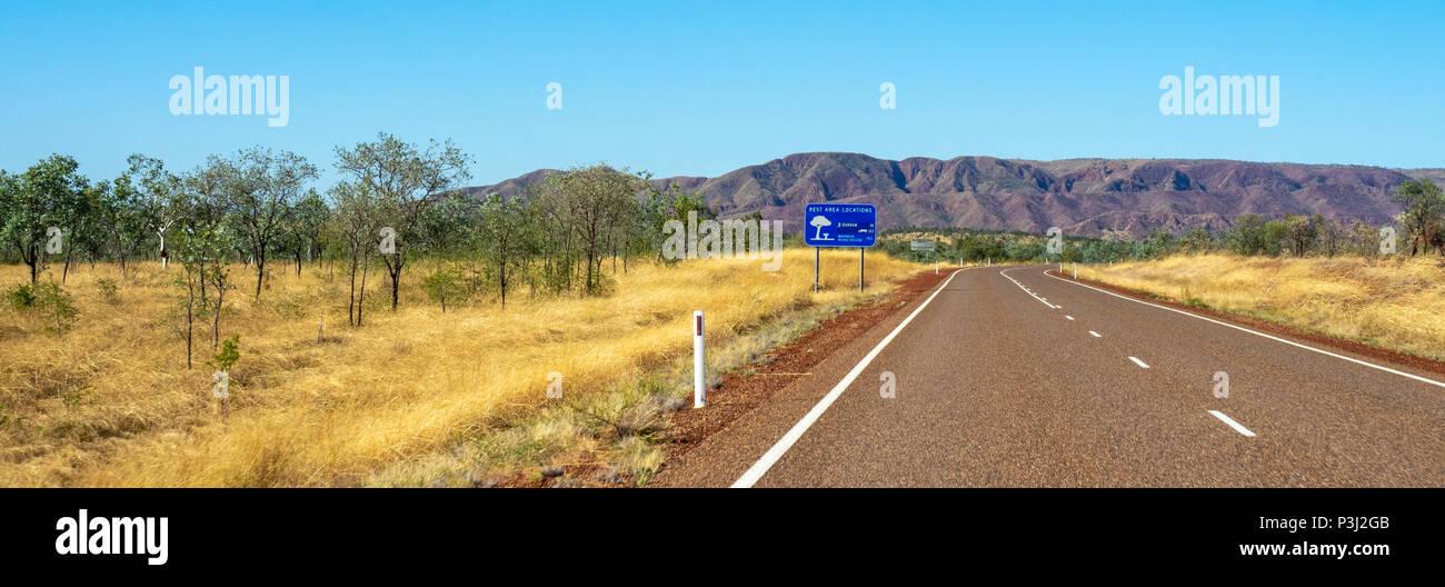 Durack Mountain Ranges and Great Northern Highway Kimberley WA Australia. Stock Photo