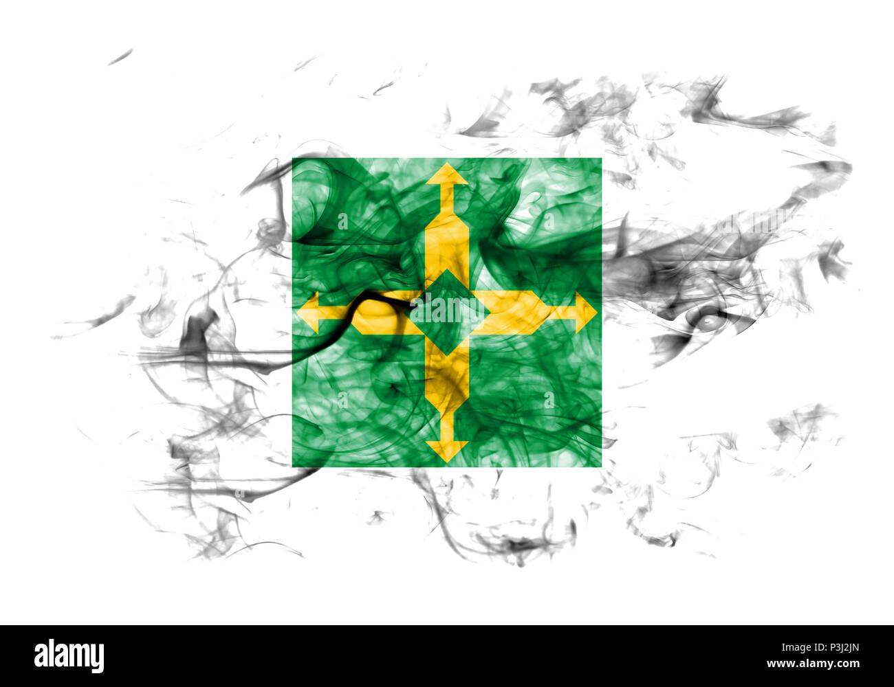 Distrito Federal smoke flag, Ciudad de Mexico - Stock Image