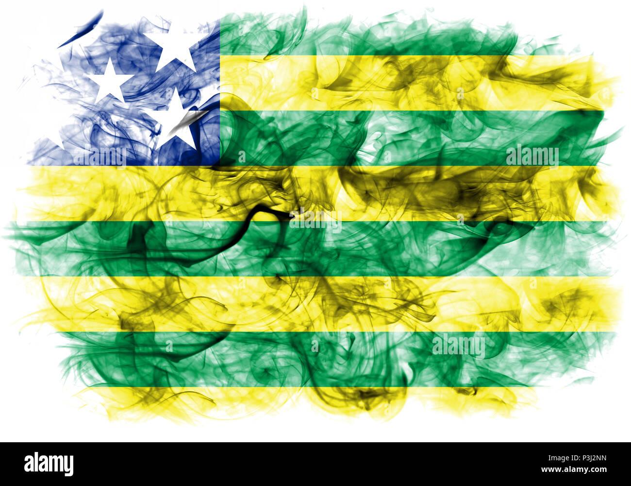 Goias smoke flag, state of Brazil - Stock Image