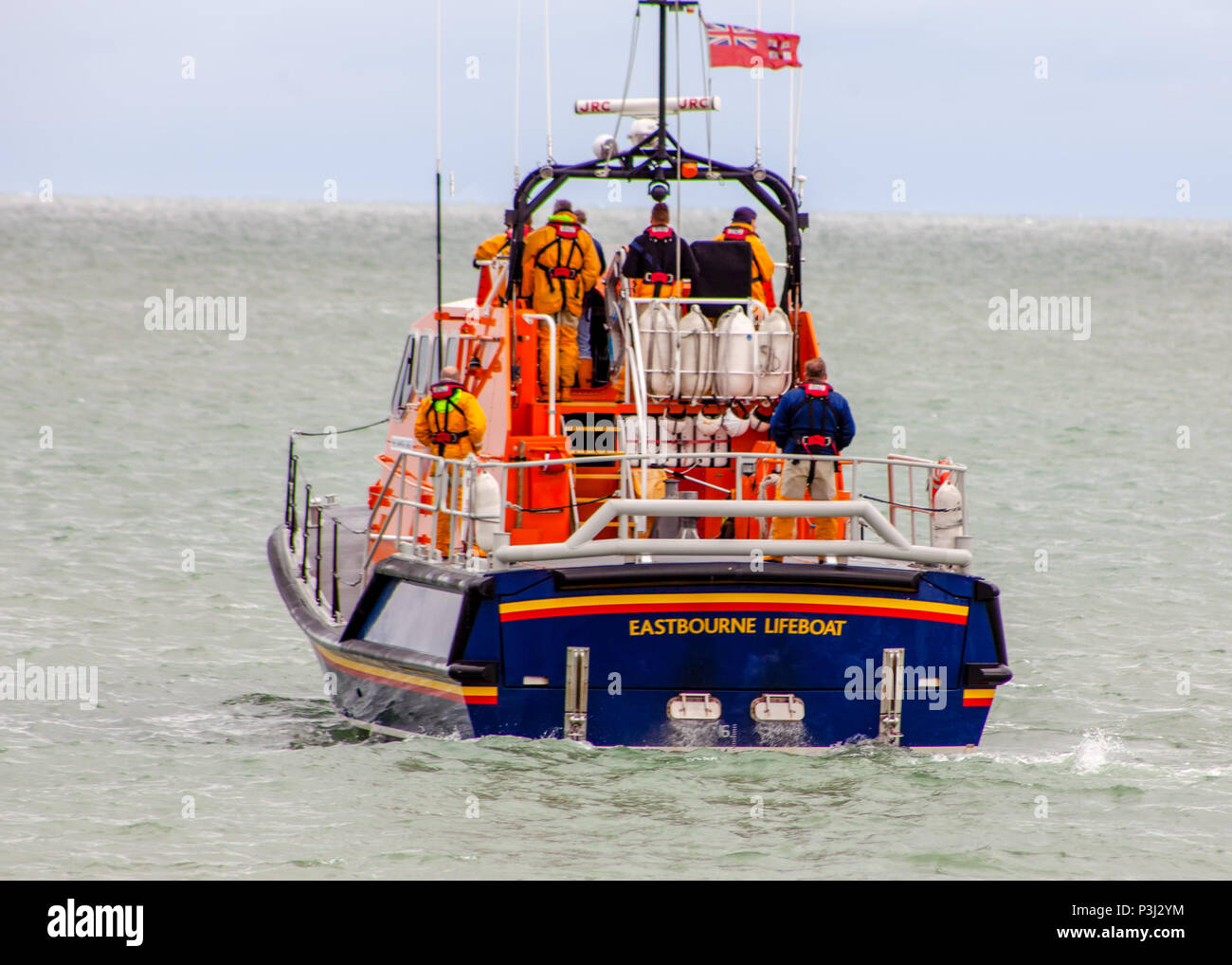 Eastbourne's Diamond Jubilee Tamar class RNLI lifeboat (16-23) out at sea for crew training - Stock Image