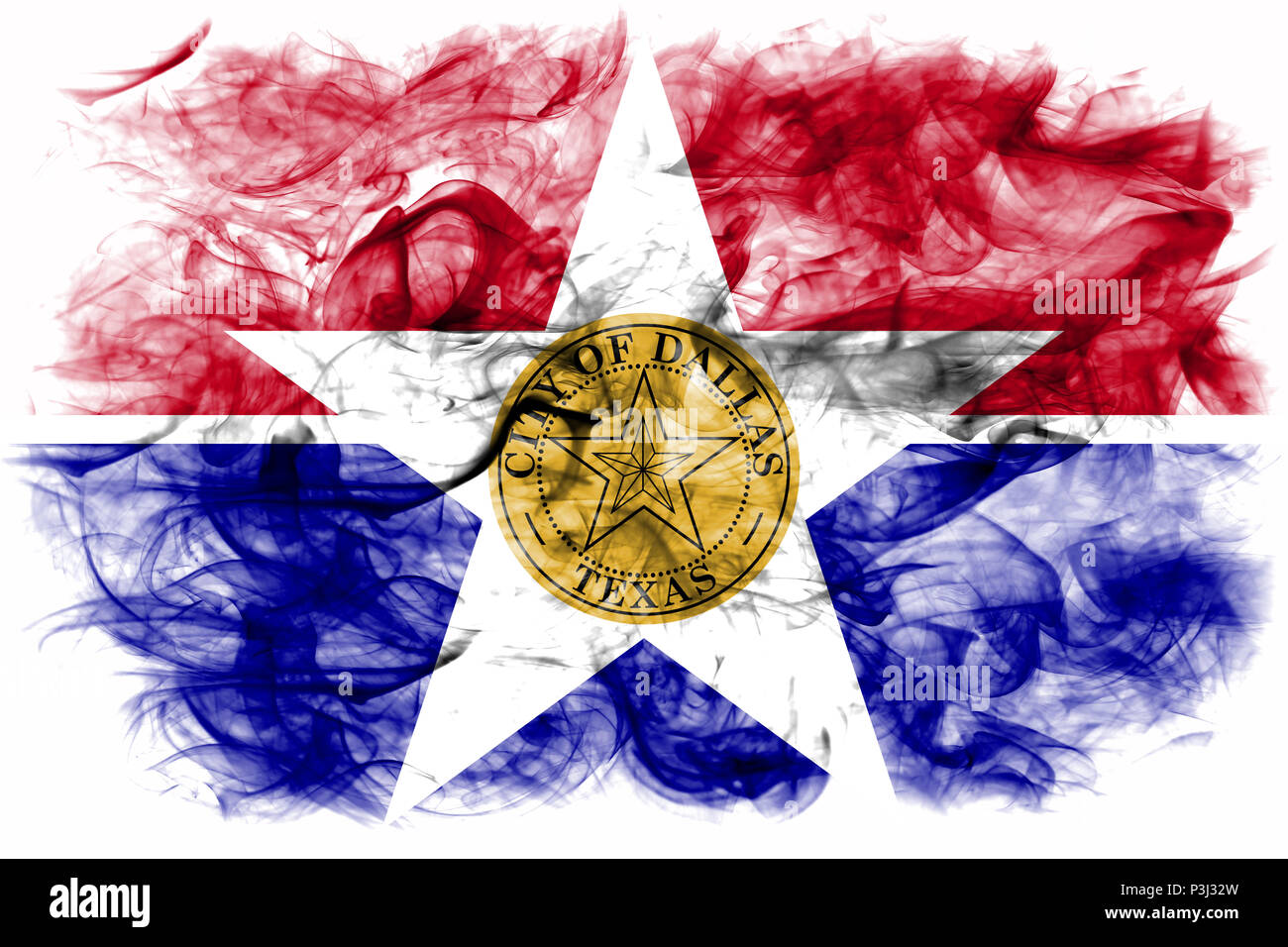 Dallas city smoke flag, Illinois State, United States Of America - Stock Image
