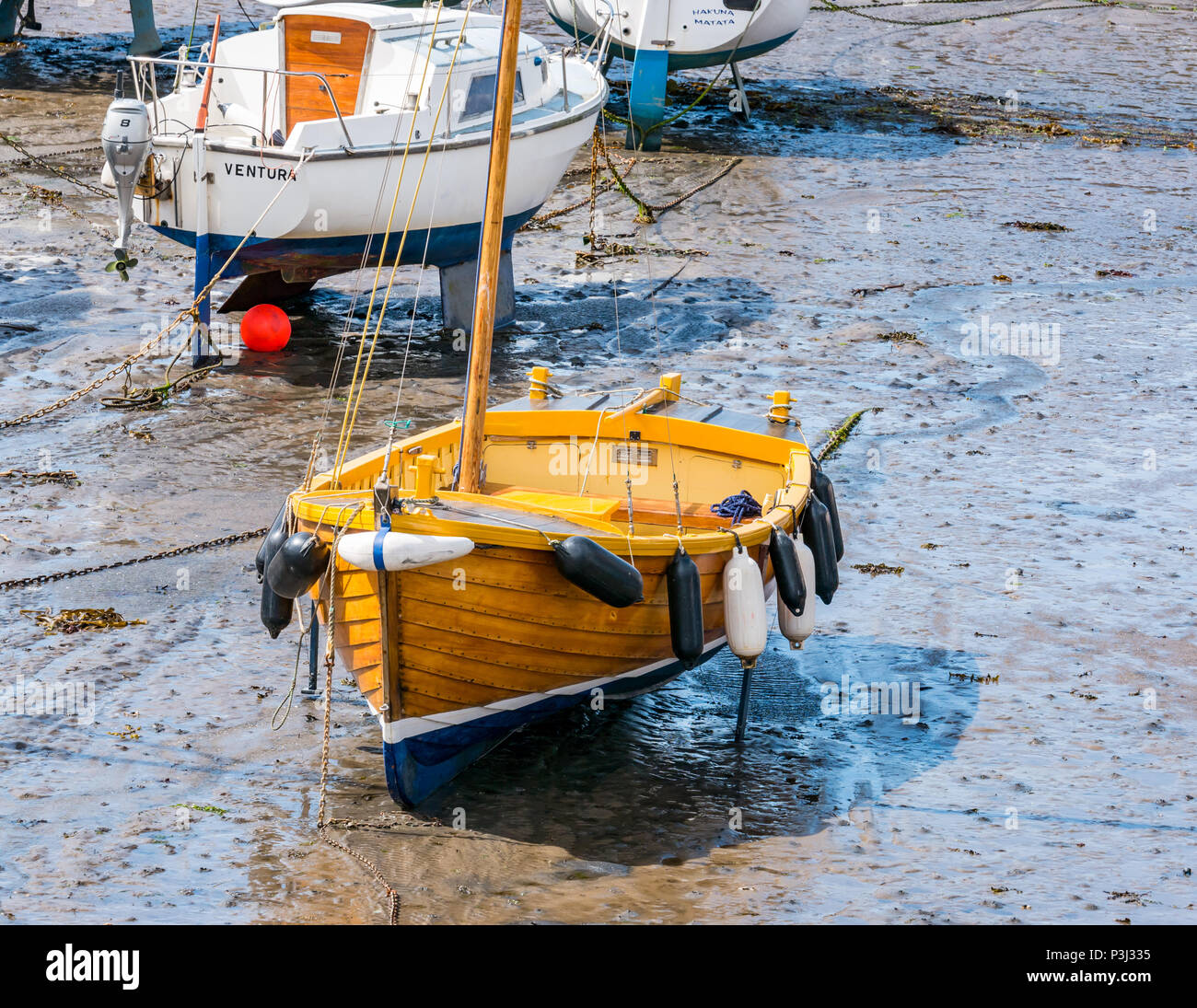 Wooden sailing boat and other boats in mud at low tide, North Berwick harbour, east Lothian, Scotland, UK Stock Photo