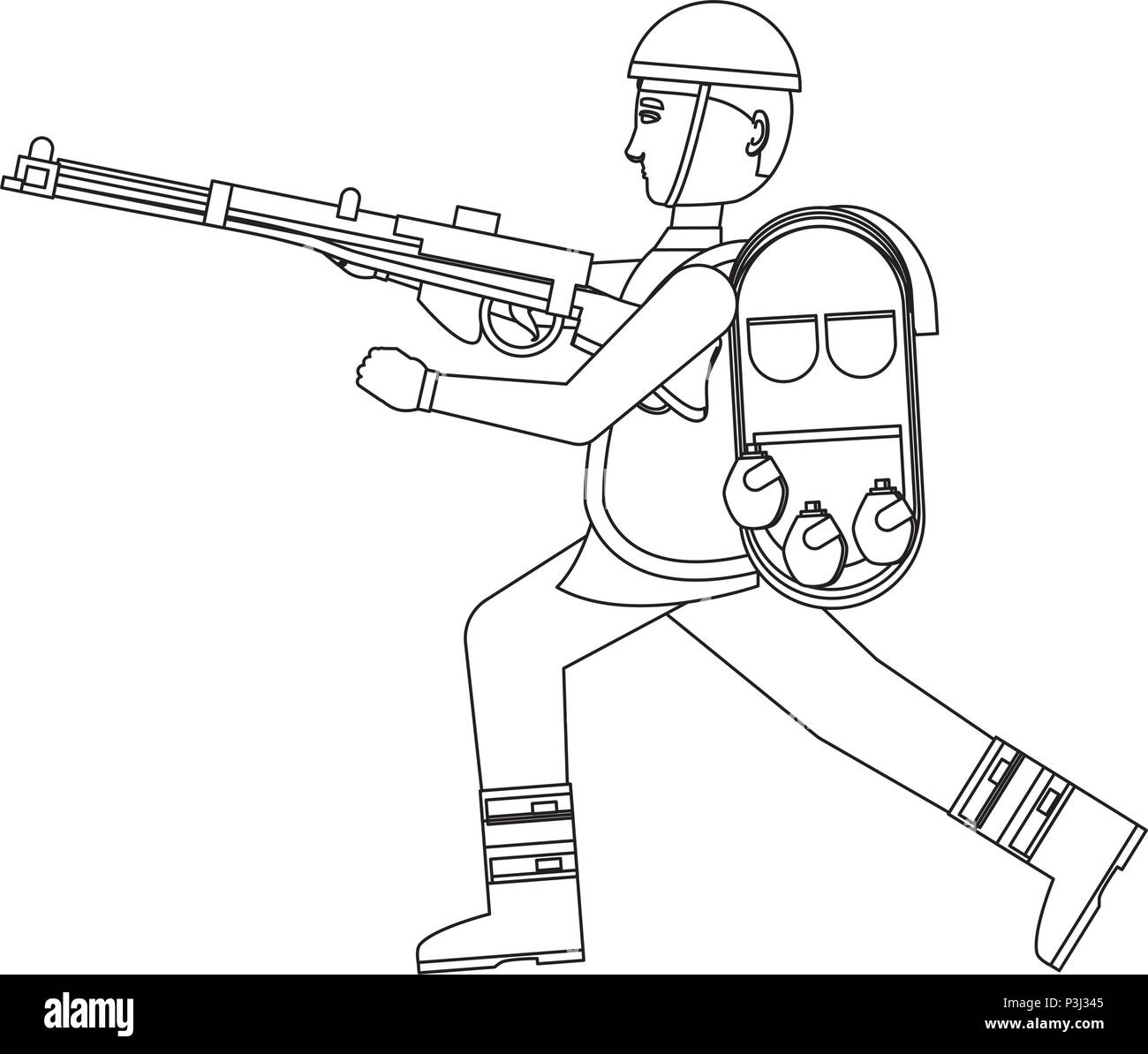 Anzac soldier with the equipment and weapon over white background, vector illustration - Stock Image