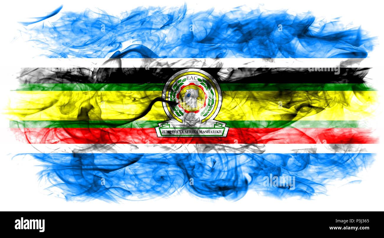 East African Community smoke flag, EAC flag Stock Photo