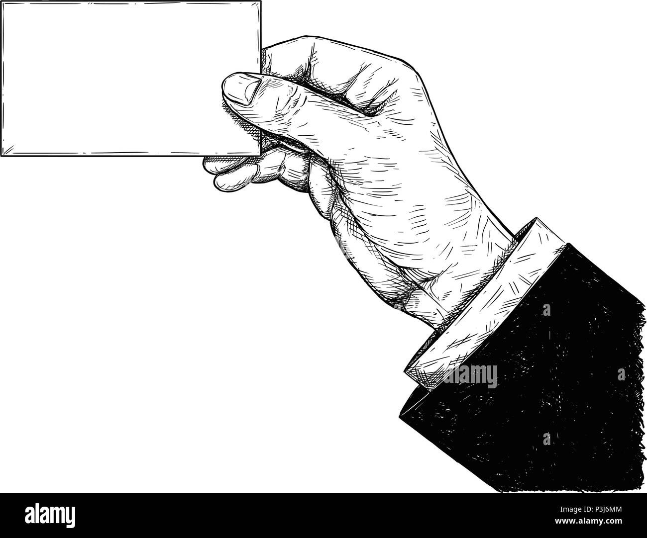 Vector Artistic Drawing Illustration of Hand Holding Blank Business Card Stock Vector