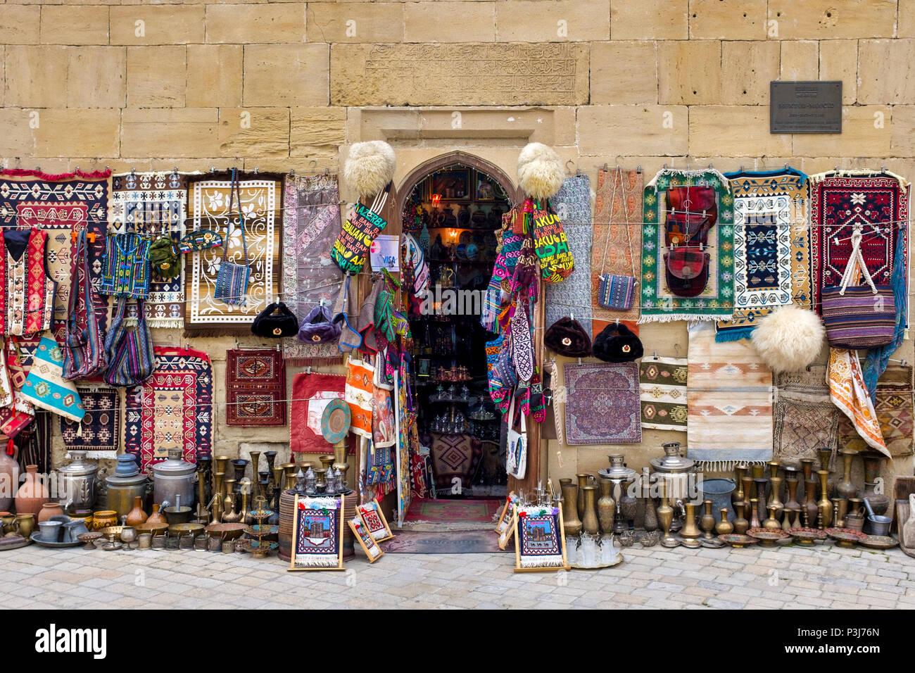 Azeri traditional shop in Icheri Sheher, Baku, Azerbaijan Stock Photo