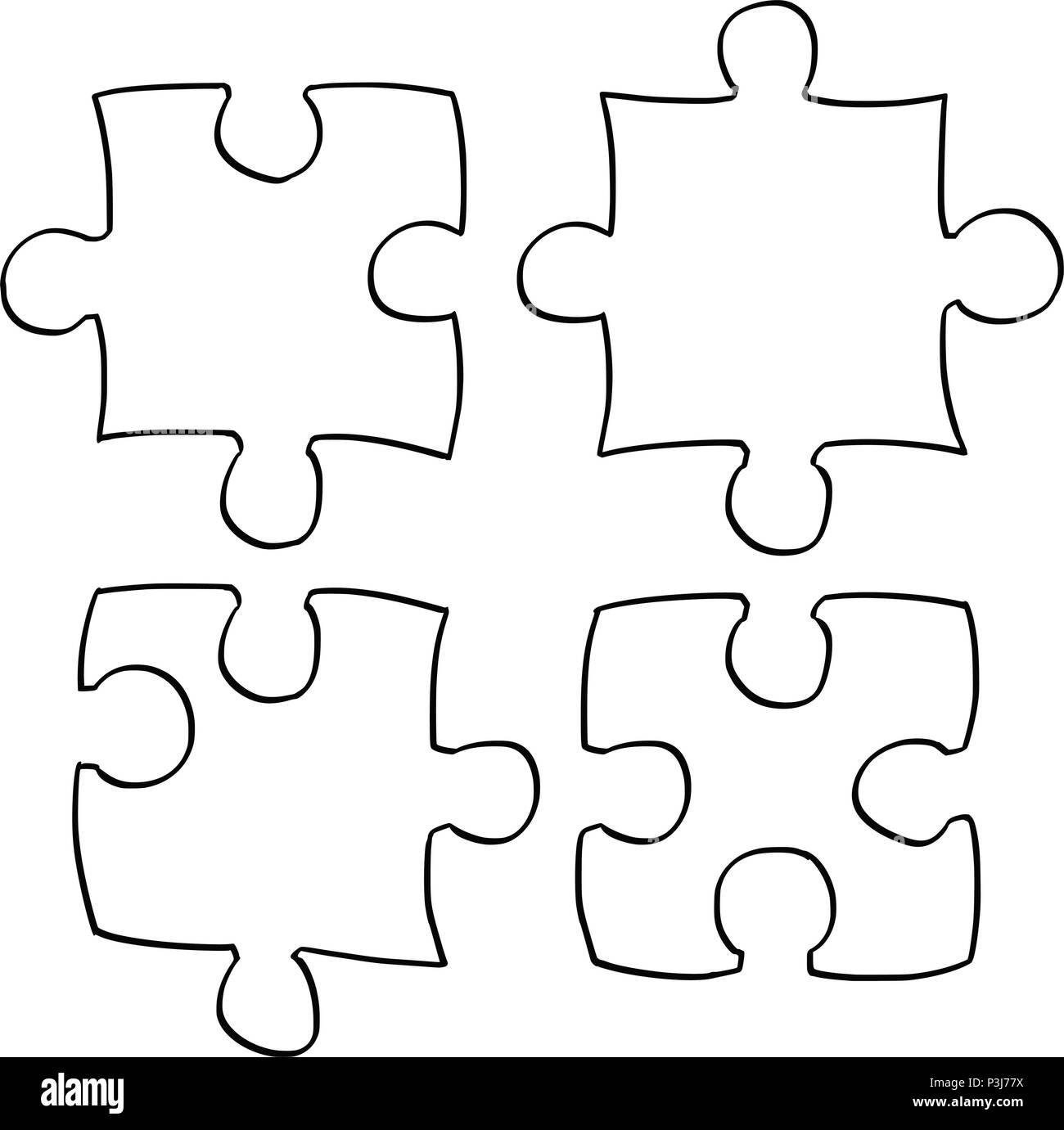 Vector artistic drawing illustration of four jigsaw puzzle pieces stock vector art - Puzzle dessin ...