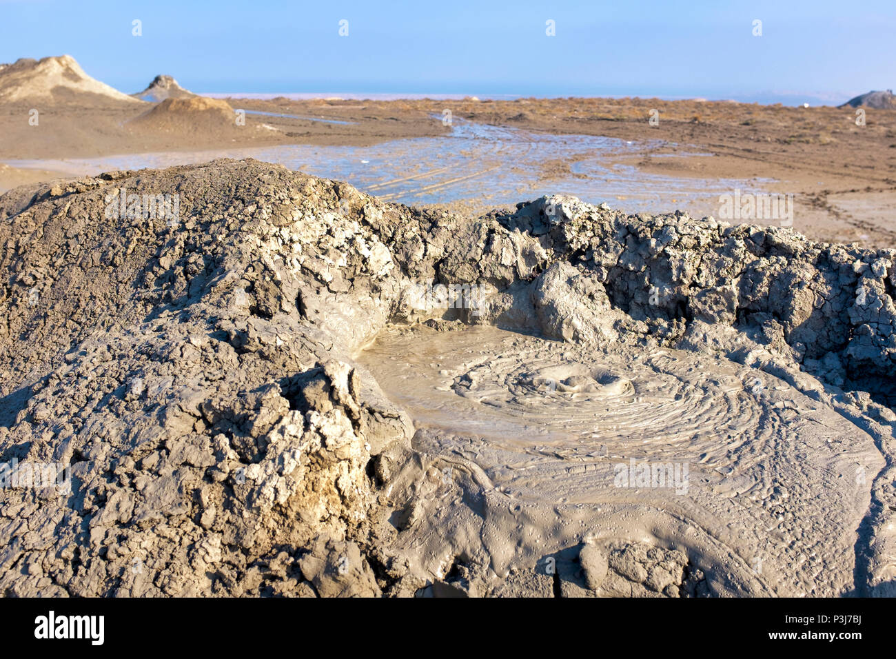 Mud vulcano in Gobustan National Park, Azerbaijan - Stock Image