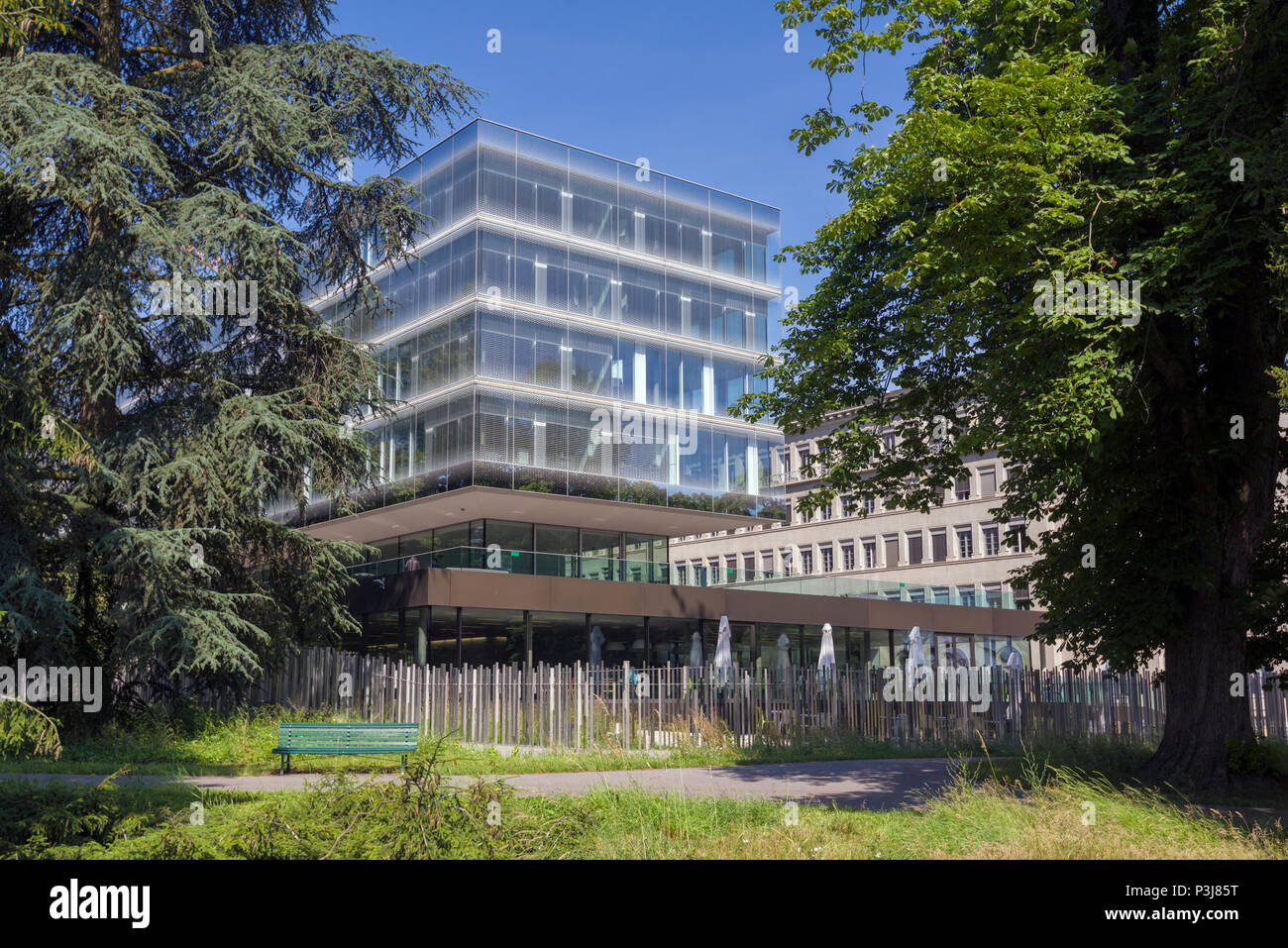 Geneva, Switzerland - june 10, 2018 : The new and the old building of the World Trade Organization (WTO) Stock Photo