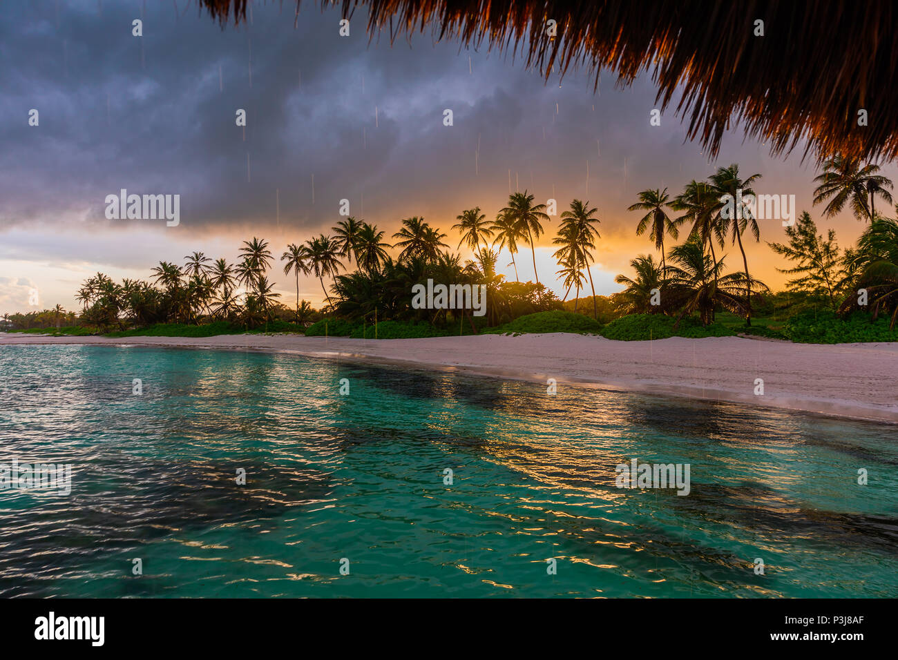 Beautiful view toward tropical beach from wooden water villa, Punta Cana - Stock Image