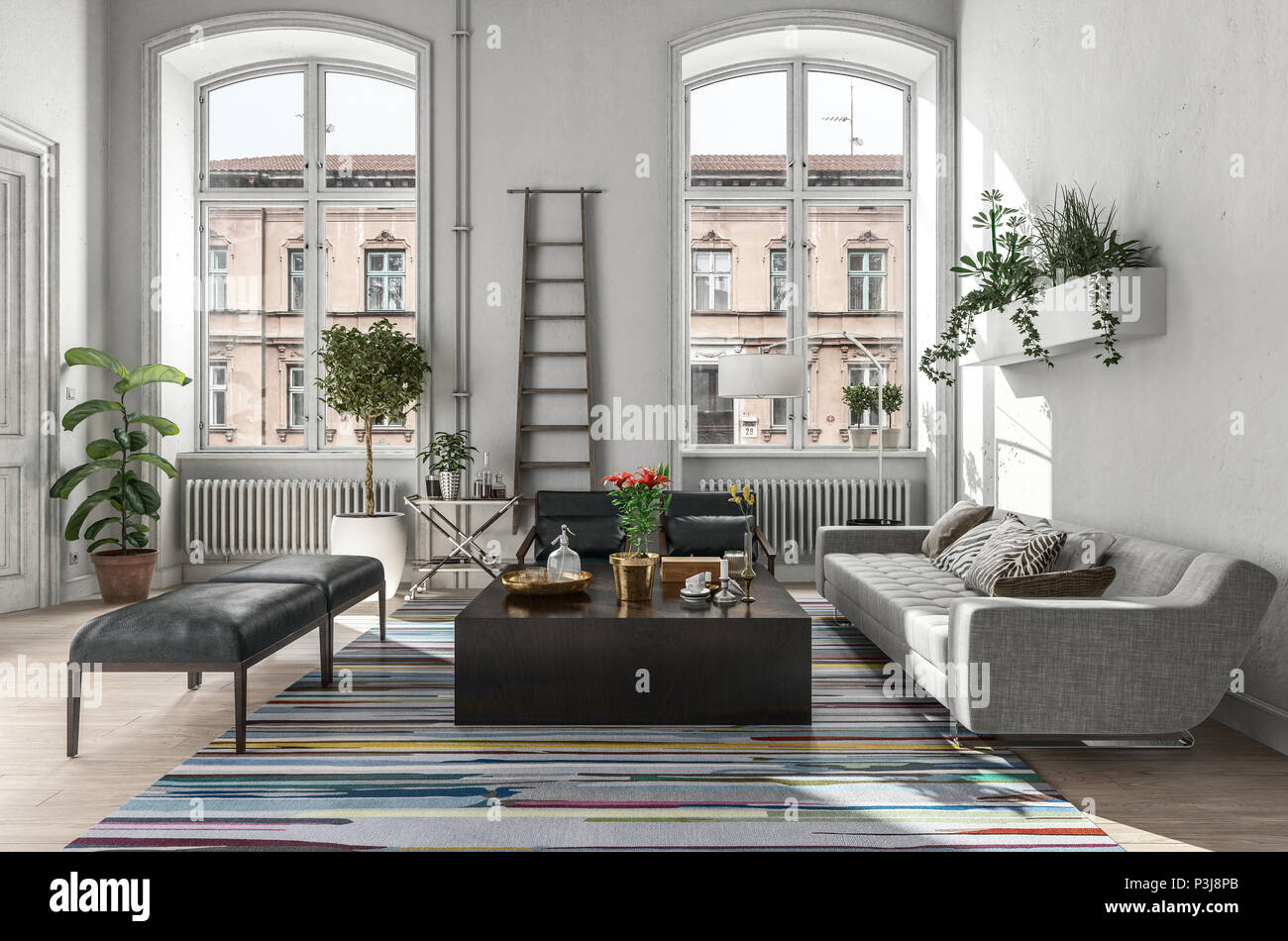 Modern rustic living room interior in a scandinavian style 3d rendering