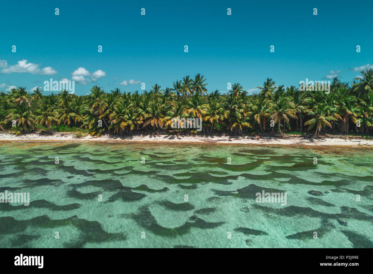 Aerial view of tropical island beach, Dominican Republic - Stock Image