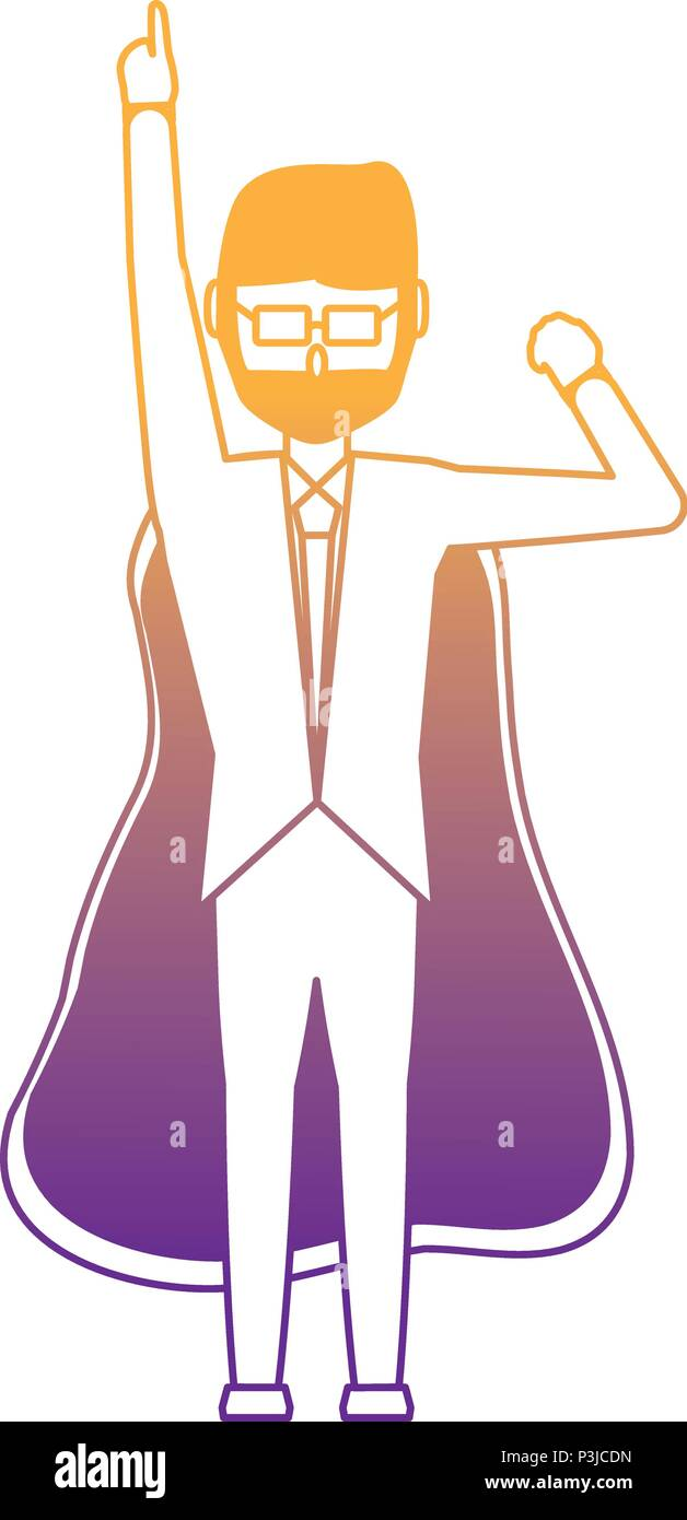 cartoon businessman pointing up and with superhero cape over white background, vector illustration - Stock Image