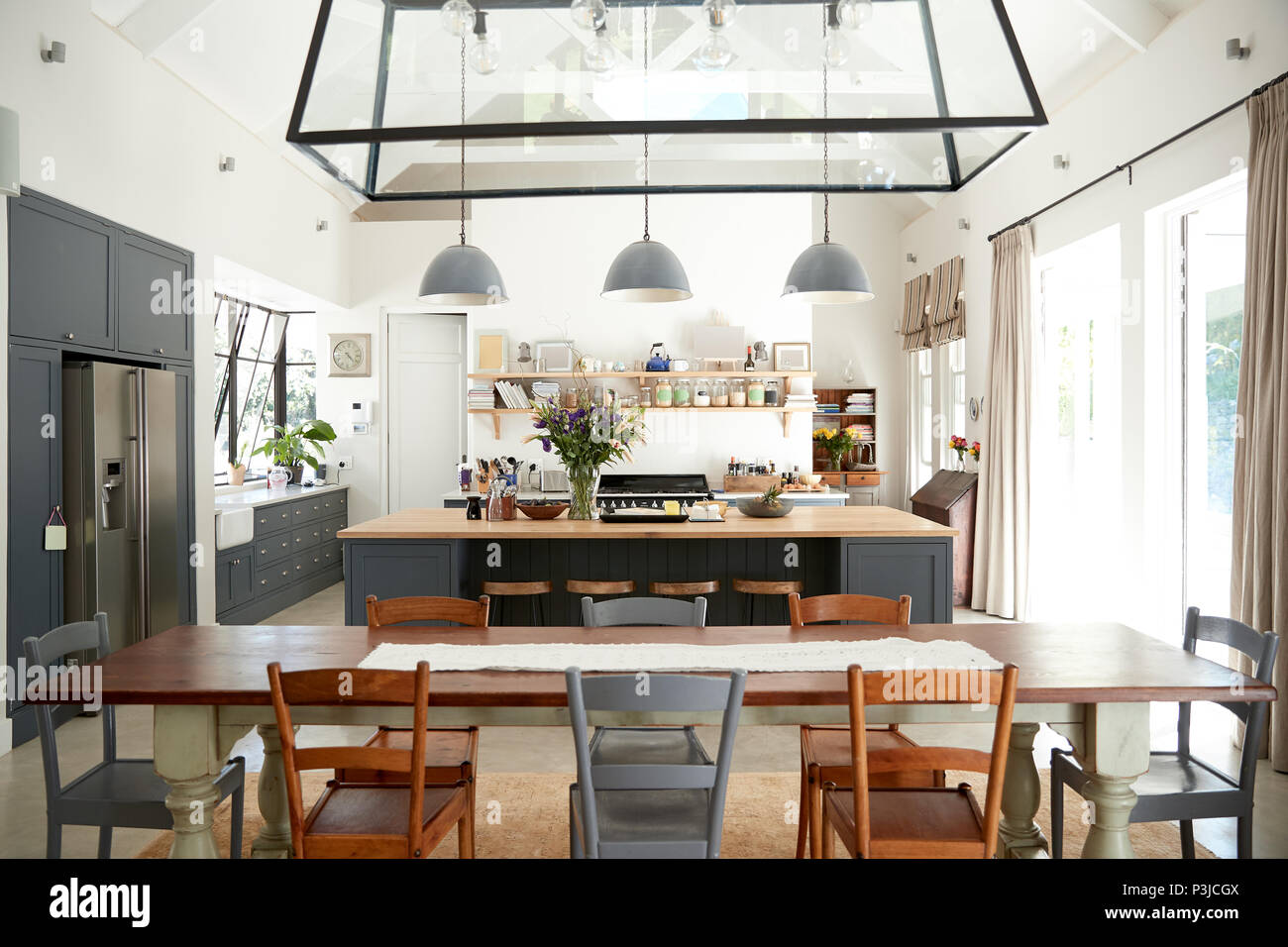 Open Plan Kitchen Diner In A Period Conversion Family Home Stock Photo Alamy