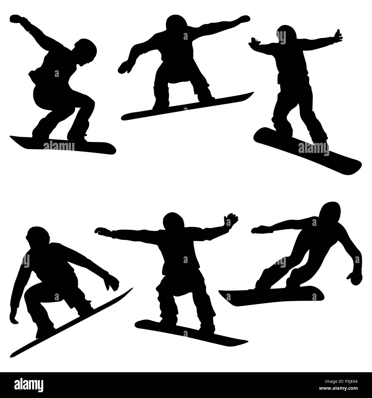 set athletes snowboarders black silhouette snowboard competition - Stock Image