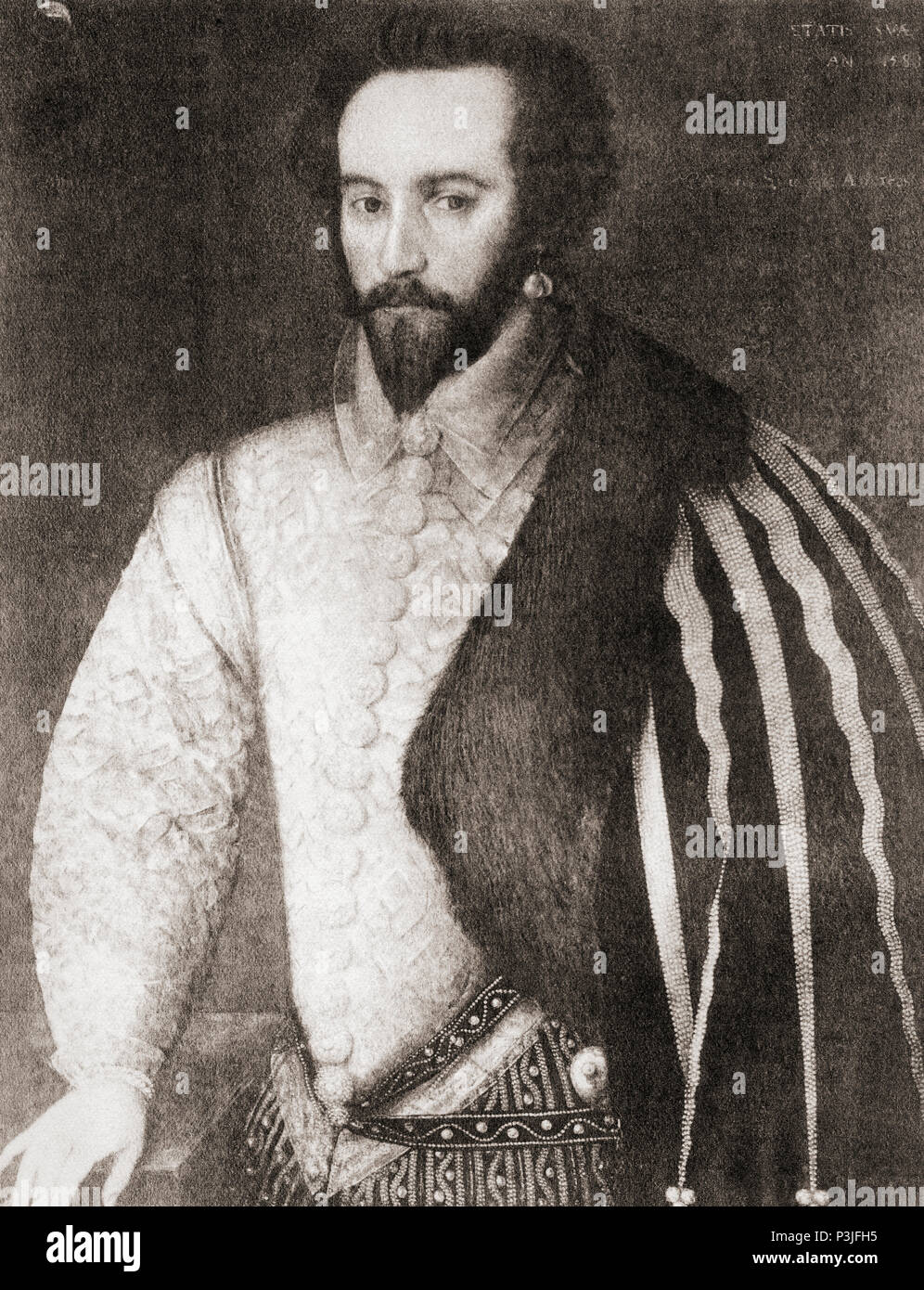 Sir Walter Raleigh, c.1554 - 1618.  English landed gentleman, writer, poet, soldier, politician, courtier, spy and explorer.  From Shakespeare The Player, published 1916 - Stock Image