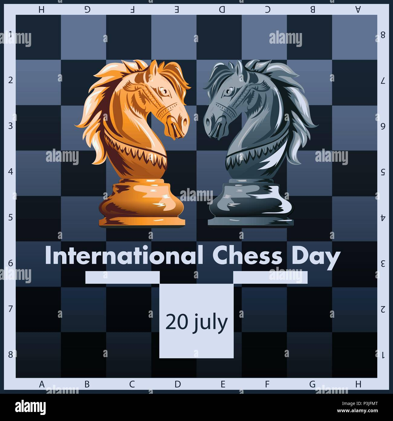 International chess day vector illustration label design. July 20. - Stock Vector