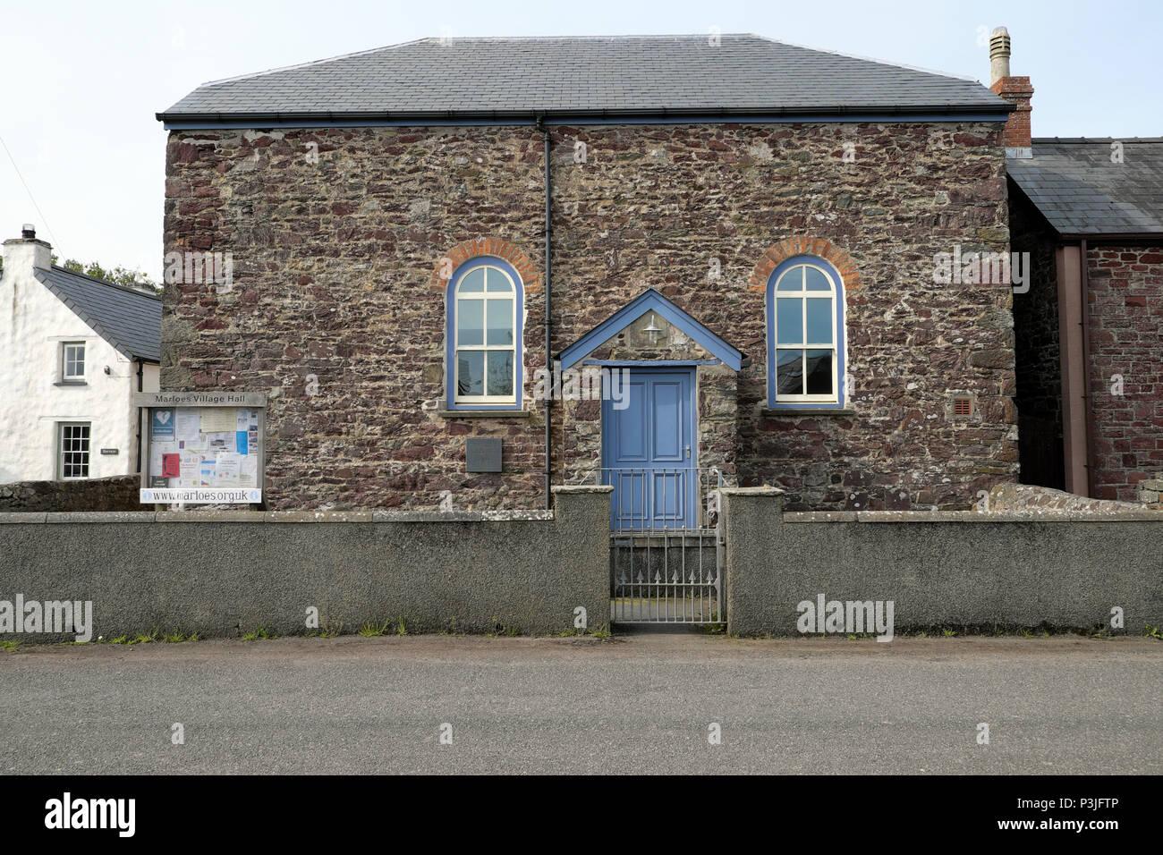Marloes Village Hall historical stone building entrance door in Pembrokeshire West Wales, UK  KATHY DEWITT - Stock Image