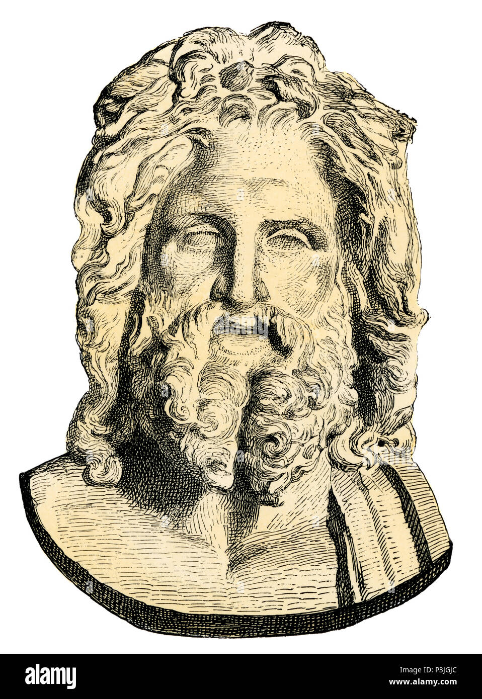 Zeus, king of the ancient Greek gods. Hand-colored woodcut reproduction of a bust in the Vatican - Stock Image
