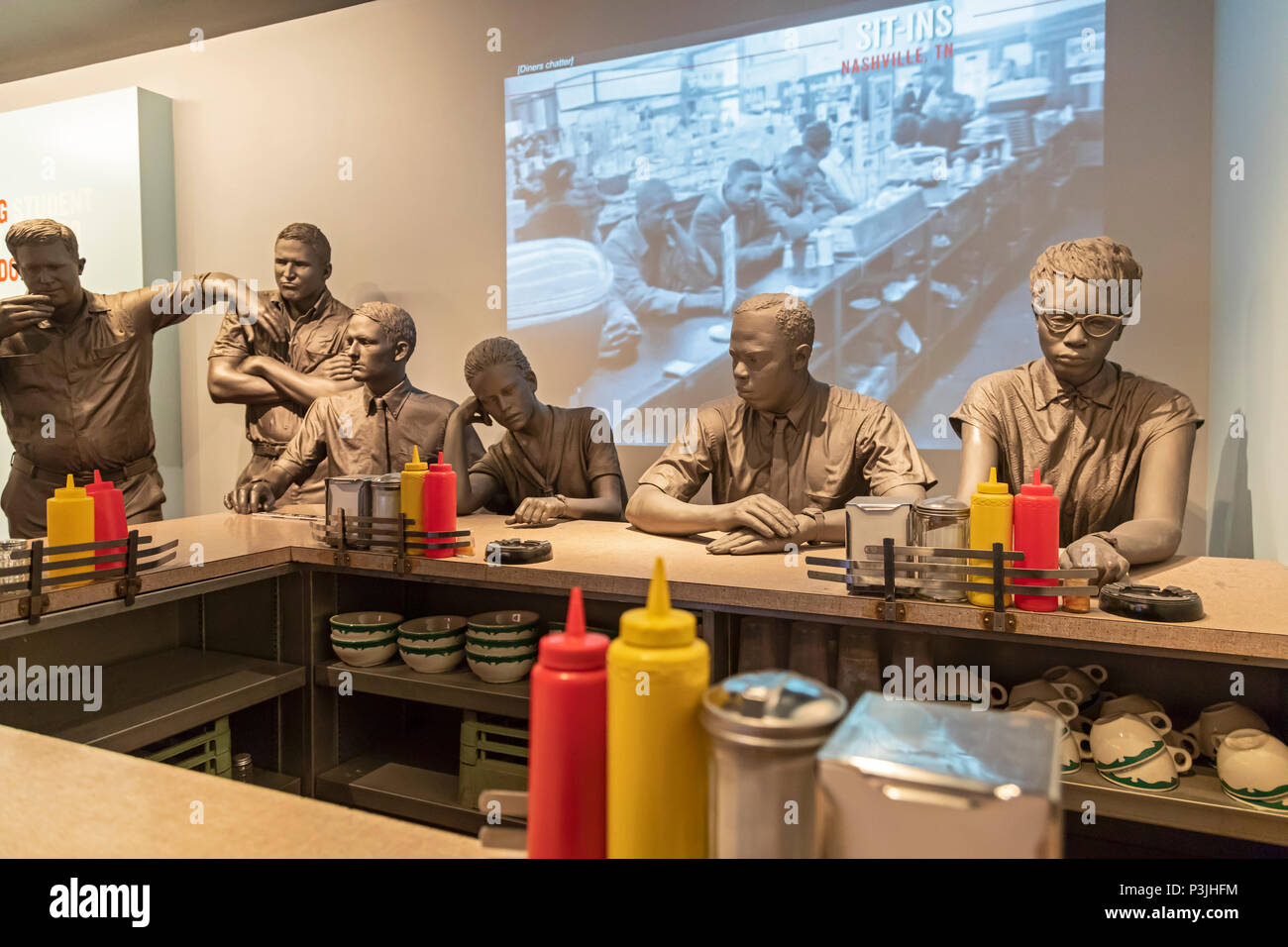 Memphis, Tennessee - The National Civil Rights Museum at the Lorraine Motel, where Martin Luther King, Jr. was assassinated in 1968. A lunch counter t - Stock Image