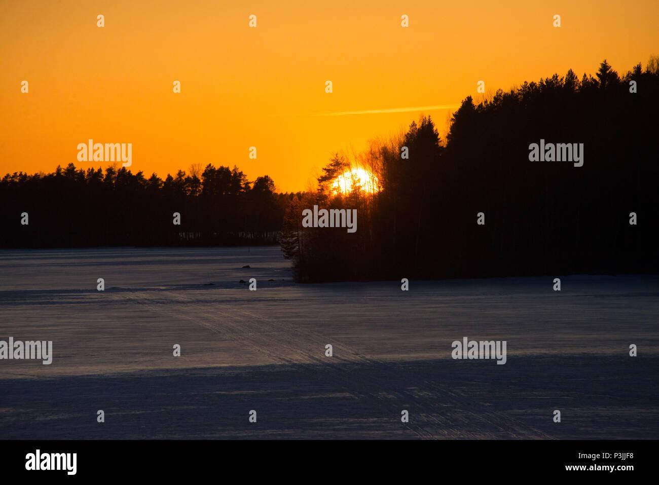 Lake Kukkia Sunset. Luopioinen, Pirkanmaa, Finland. 10.4.2018 - Stock Image