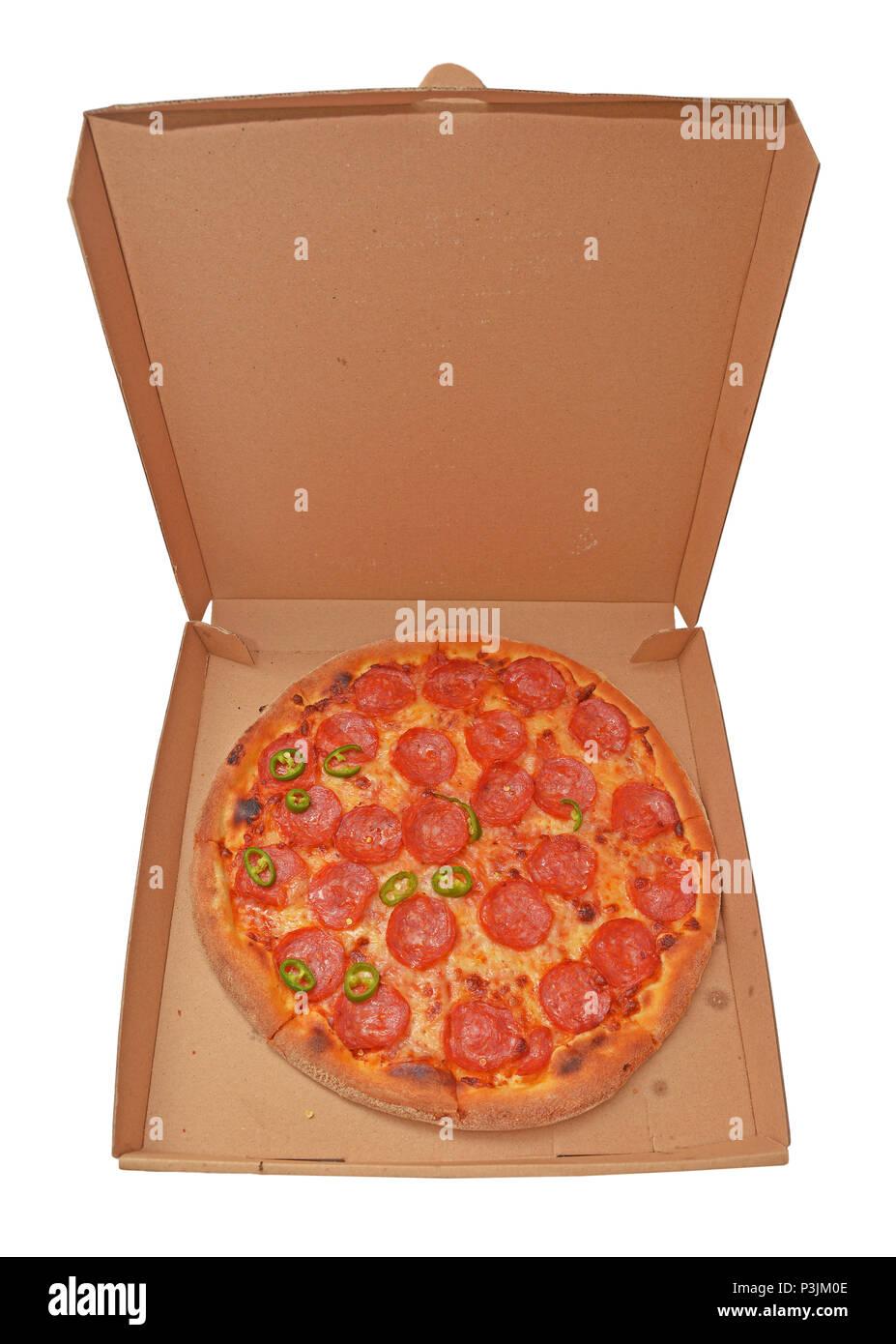 Pizza Salami In Cardboard Box Stock Photo 208779214 Alamy
