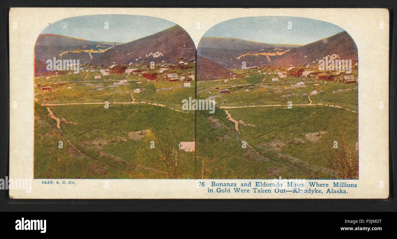 39 Bonanza and Eldorado mines, where millions in gold were taken out. Klondyke (Klondike), Alaska, from Robert N. Dennis collection of stereoscopic views Stock Photo