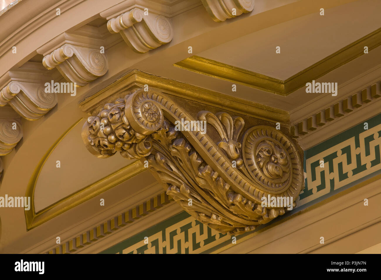 Close Up Of Classical Antique Gilded Ornamentation Along Upper Walls In The Rotunda Of Montana